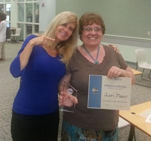 Juli Anna California with Table Topics champion Lori Mauer