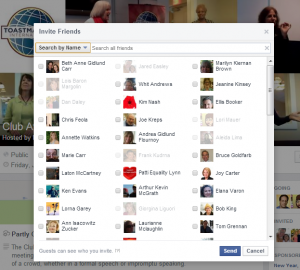 Invite screen displays all Facebook friends by default