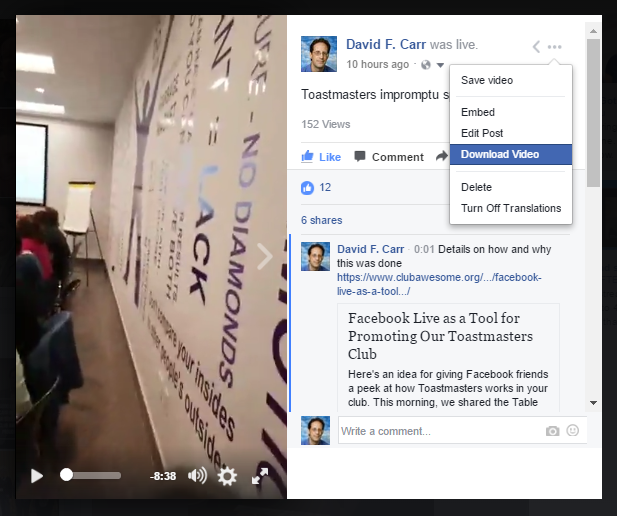 Facebook live as a tool for promoting our toastmasters club club downloading a facebook live replay video ccuart Gallery